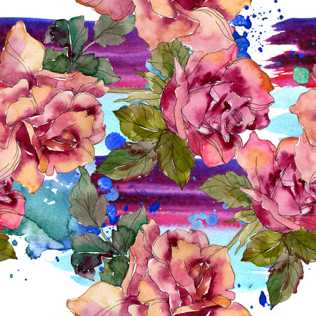 Maroon pink rose floral botanical flower. Wild spring leaf isolated. Watercolor illustration set. Watercolour drawing fashion aquarelle. Seamless background pattern. Fabric wallpaper print texture. 写真素材