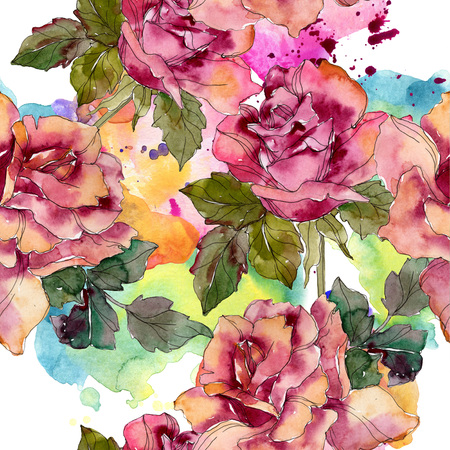 Maroon pink rose floral botanical flower. Wild spring leaf isolated. Watercolor illustration set. Watercolour drawing fashion aquarelle. Seamless background pattern. Fabric wallpaper print texture. Banco de Imagens