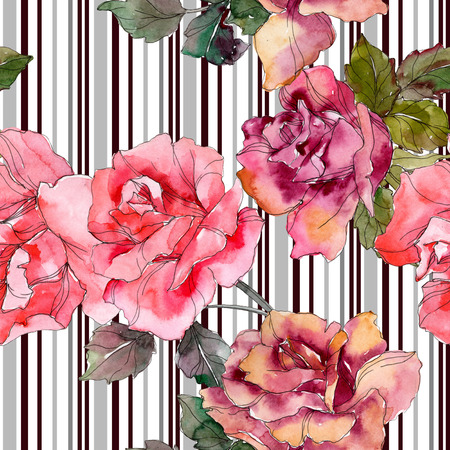 Pink rose floral botanical flower. Wild spring leaf isolated. Watercolor illustration set. Watercolour drawing fashion aquarelle. Seamless background pattern. Fabric wallpaper print texture. Stock fotó