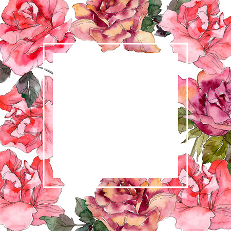Pink rose floral botanical flower. Wild spring leaf wildflower isolated. Watercolor background illustration set. Watercolour drawing fashion aquarelle isolated. Frame border ornament square.