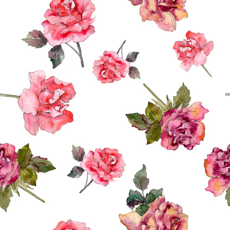 Pink rose floral botanical flower. Wild spring leaf isolated. Watercolor illustration set. Watercolour drawing fashion aquarelle. Seamless background pattern. Fabric wallpaper print texture. Stok Fotoğraf