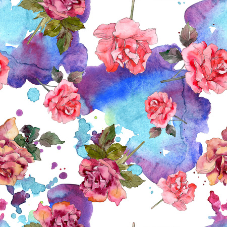 Pink rose floral botanical flower. Wild spring leaf isolated. Watercolor illustration set. Watercolour drawing fashion aquarelle. Seamless background pattern. Fabric wallpaper print texture. Banco de Imagens