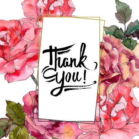 Fleur botanique florale rose rose. Fleur sauvage de feuille de printemps sauvage isolée. Ensemble d'illustrations de fond aquarelle. Aquarelle de mode dessin aquarelle isolé. Carré d'ornement de bordure de cadre.