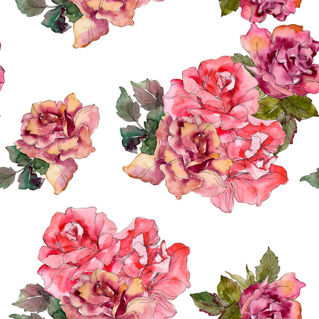 Pink rose floral botanical flower. Wild spring leaf isolated. Watercolor illustration set. Watercolour drawing fashion aquarelle. Seamless background pattern. Fabric wallpaper print texture. Stock Photo