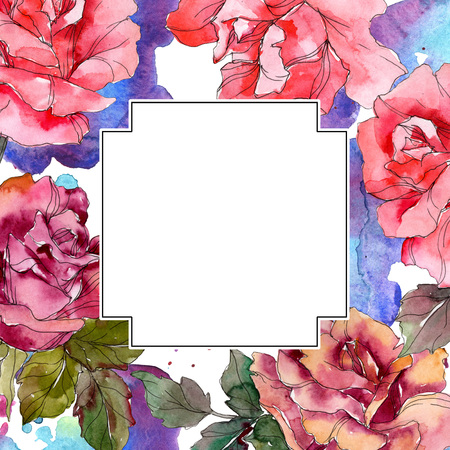 Pink rose floral botanical flower. Wild spring leaf wildflower isolated. Watercolor background illustration set. Watercolour drawing fashion aquarelle isolated. Frame border ornament square. 写真素材 - 118134132