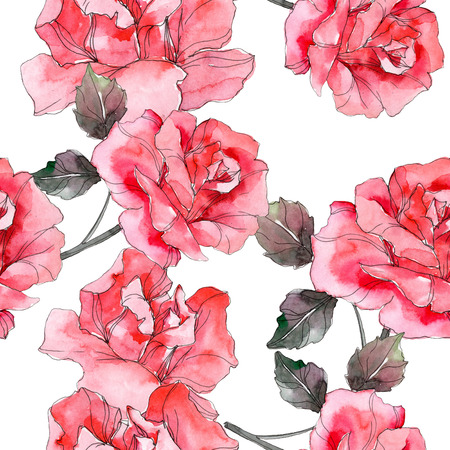 Pink rose floral botanical flower. Wild spring leaf isolated. Watercolor illustration set. Watercolour drawing fashion aquarelle. Seamless background pattern. Fabric wallpaper print texture. 写真素材