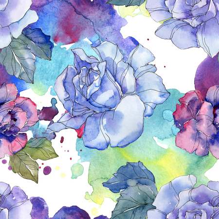 Blue and purple rose floral botanical flower. Wild spring leaf isolated. Watercolor illustration set. Watercolour drawing aquarelle. Seamless background pattern. Fabric wallpaper print texture.