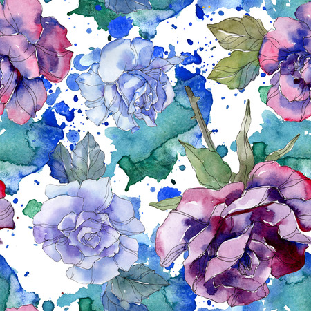 Blue and purple rose floral botanical flower. Wild spring leaf isolated. Watercolor illustration set. Watercolour drawing aquarelle. Seamless background pattern. Fabric wallpaper print texture. 写真素材 - 117954447