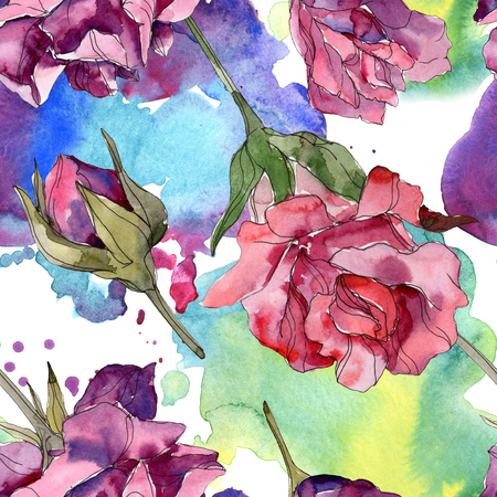 Purple and red rose botanical flowers. Wild spring leaf isolated. Watercolor illustration set. Watercolour drawing fashion aquarelle. Seamless background pattern. Fabric wallpaper print texture.