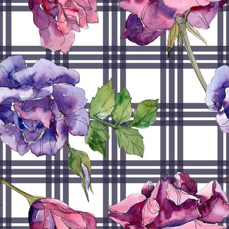 Flores botánicas de rosas rojas y púrpuras. Hoja de primavera salvaje aislada. Conjunto de ilustración acuarela. Dibujo de acuarela aquarelle de moda. Patrón de fondo transparente. Textura de impresión de papel tapiz de tela. Foto de archivo