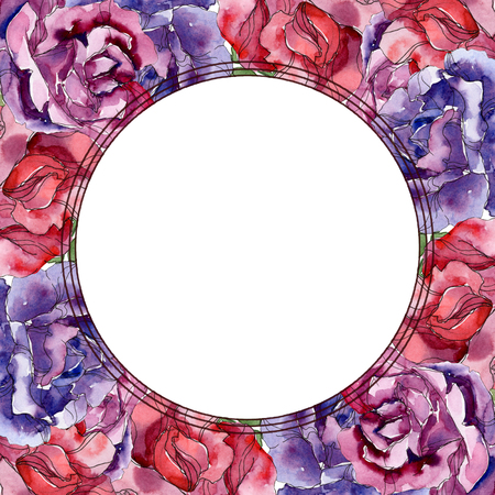 Purple and red rose floral botanical flowers. Wild spring leaf wildflower isolated. Watercolor background illustration set. Watercolour drawing fashion aquarelle. Frame border ornament square. Stock Photo