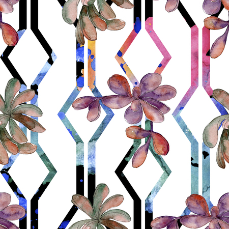 Jungle succulent flower. Spring leaf wildflower isolated. Watercolor illustration set. Watercolour drawing fashion aquarelle. Seamless background pattern. Fabric wallpaper print texture.