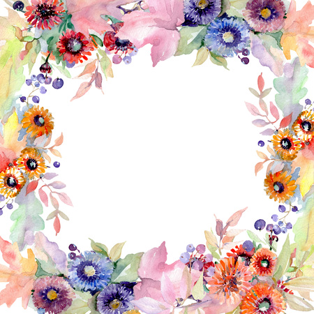 Bouquet floral botanical flowers. Wild spring leaf wildflower isolated. Watercolor background illustration set. Watercolour drawing fashion aquarelle isolated. Frame border ornament square. Stock Photo
