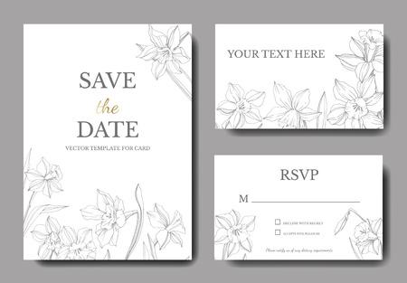 Vector Narcissus floral flower. Wild spring leaf isolated. Black and white engraved ink art. Wedding background card floral decorative border. Elegant card illustration graphic set banner. Illustration