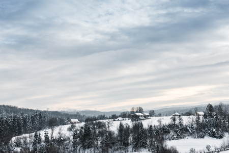 landscape of carpathian mountains covered with snow with cloudy sky and trees Imagens