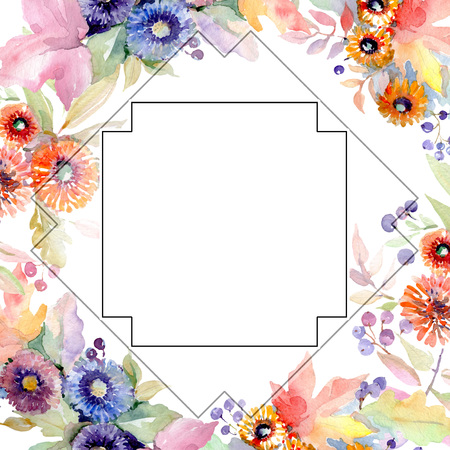 Bouquet floral botanical flowers. Wild spring leaf wildflower isolated. Watercolor background illustration set. Watercolour drawing fashion aquarelle isolated. Frame border ornament square. 스톡 콘텐츠