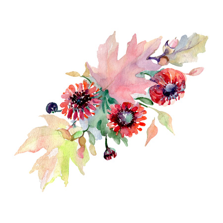 Bouquet floral botanical flowers. Wild spring leaf wildflower isolated. Watercolor background illustration set. Watercolour drawing fashion aquarelle. Isolated bouquet illustration element.