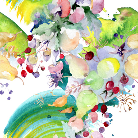 Bouquet with flowers and fruits. Wild spring leaf wildflower isolated. Watercolor illustration set. Watercolour drawing fashion aquarelle. Seamless background pattern. Fabric wallpaper print texture. Banco de Imagens - 118197647