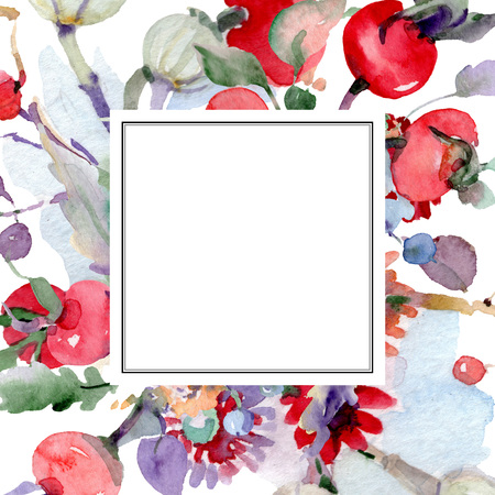 Bouquet with flowers and fruits. Wild spring leaf wildflower isolated. Watercolor background illustration set. Watercolour drawing fashion aquarelle isolated. Frame border ornament square.
