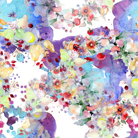 Bouquet with flowers and fruits. Wild spring leaf wildflower isolated. Watercolor illustration set. Watercolour drawing fashion aquarelle. Seamless background pattern. Fabric wallpaper print texture.
