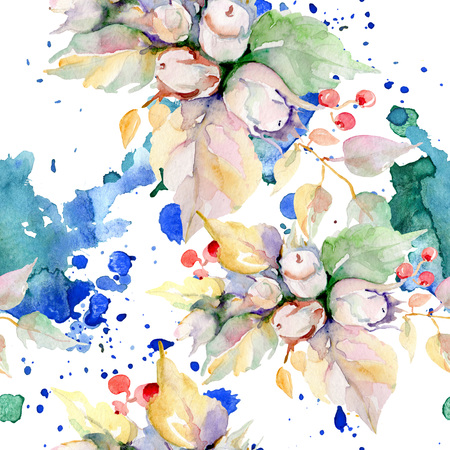 Bouquet of autumn forest fruits. Wild spring leaf isolated. Watercolor illustration set. Watercolour drawing fashion aquarelle isolated. Seamless background pattern. Fabric wallpaper print texture. 스톡 콘텐츠