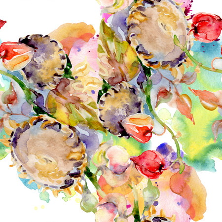 Bouquet of autumn forest fruits. Wild spring leaf isolated. Watercolor illustration set. Watercolour drawing fashion aquarelle isolated. Seamless background pattern. Fabric wallpaper print texture. 写真素材