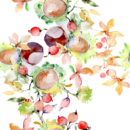 Bouquet of autumn forest fruits. Wild spring leaf isolated. Watercolor illustration set. Watercolour drawing fashion aquarelle isolated. Seamless background pattern. Fabric wallpaper print texture. Banco de Imagens