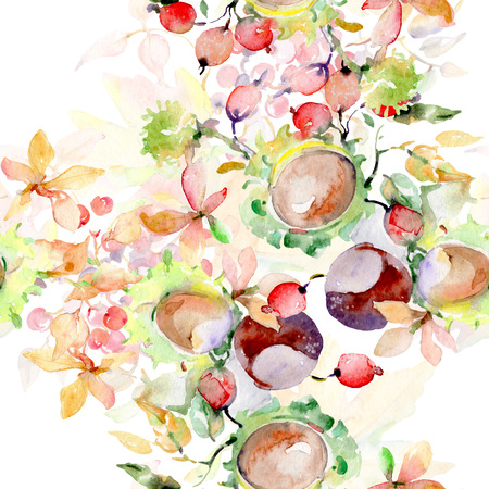 Bouquet of autumn forest fruits. Wild spring leaf isolated. Watercolor illustration set. Watercolour drawing fashion aquarelle isolated. Seamless background pattern. Fabric wallpaper print texture. Stock Photo