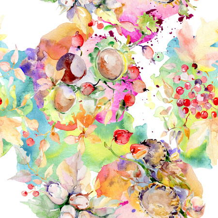 Bouquet of autumn forest fruits. Wild spring leaf isolated. Watercolor illustration set. Watercolour drawing fashion aquarelle isolated. Seamless background pattern. Fabric wallpaper print texture. Imagens