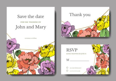 Vector Peony floral botanical flower. Wild spring leaf wildflower isolated. Engraved ink art. Wedding background card floral decorative border. Elegant card illustration graphic set banner.