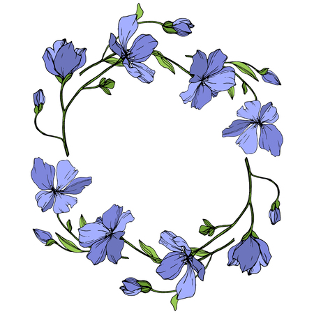 Vector Blue Flax floral botanical flower. Wild spring leaf wildflower isolated. Engraved ink art. Frame border ornament square.