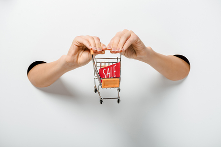 cropped image of girl holding small shopping cart with sale sign through holes on white 版權商用圖片