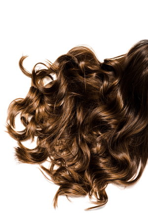 cropped view of long curly brown female hair isolated on white