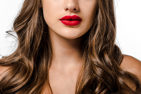 girl with long brown hair and red lips isolated on white Standard-Bild