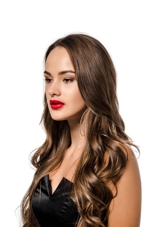 beautiful girl with red lips isolated on white Stock fotó
