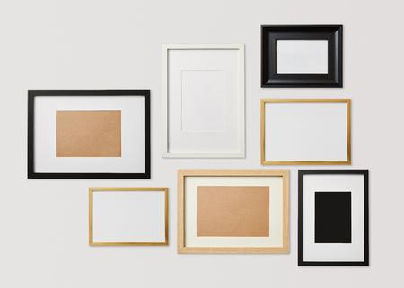 blank decorative square frames on white background