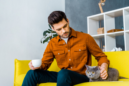 handsome man holding cup of coffee and sitting on sofa with cat Standard-Bild - 118650386