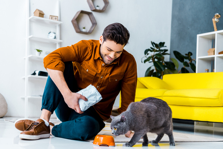 happy young man feeding grey british shorthair cat at home