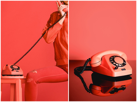 collage with stylish girl and retro phone on living coral background Banco de Imagens