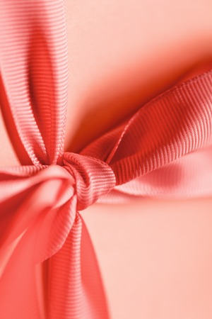 close up of gift box in living coral color. Pantone color of the year 2019 concept Zdjęcie Seryjne - 118418272