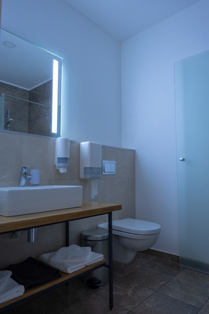 hotel bathroom interior with sink, toilet, mirror and towels