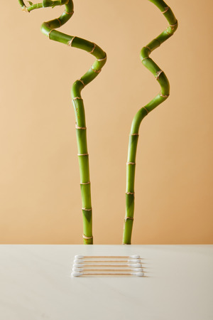 ear sticks on white table with green bamboo on beige background