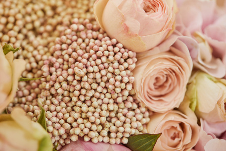 close up of bouquet of beige roses and peonies Stockfoto