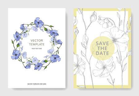 Vector Blue Flax floral botanical flower. Engraved ink art. Wedding background card floral decorative border. Thank you, rsvp, invitation elegant card illustration graphic set banner.