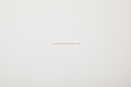 top view of cotton ear stick on white background 写真素材