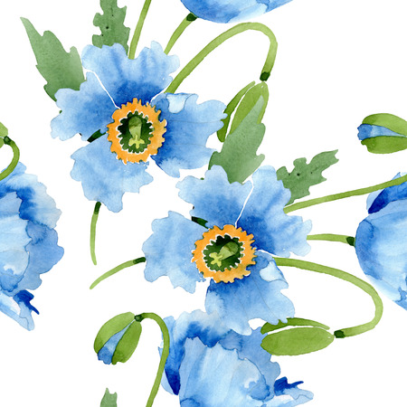 Blue poppy floral botanical flower. Wild spring leaf isolated. Watercolor illustration set. Watercolour drawing fashion aquarelle. Seamless background pattern. Fabric wallpaper print texture. Reklamní fotografie