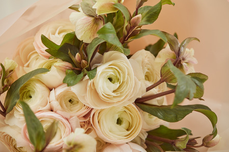 close up of bouquet of white peonies