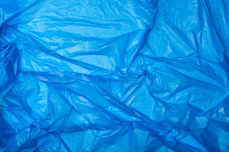 top view of blue crumpled polyethylene bag