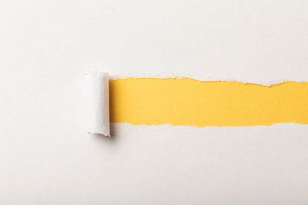 torn paper with rolled edge and copy space on yellow background Stockfoto