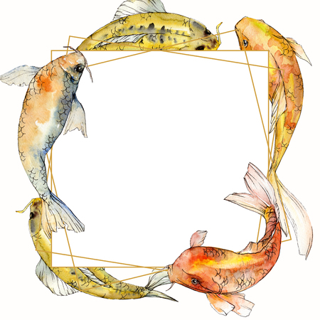 Watercolor aquatic underwater colorful tropical fish set. Red sea and exotic fishes inside: Goldfish. Aquarelle elements for background, texture, wrapper pattern. Frame border ornament square. Banco de Imagens